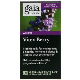 Gaia Herbs, Ягоды витекса, 60 вегетарианских жидких фито-капсул