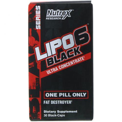 Nutrex Research, Черный ультраконцентрат Lipo-6, 30 черных капсул