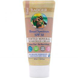 Badger Company, Оттеночный солнцезащитный крем с оксидом цинка, широкого применения SPF 30, без запаха, 2.9 жид.унц. (87 мл)