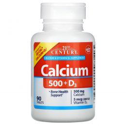 21st Century, Кальций 500 + D3, 90 капсуловидных таблеток