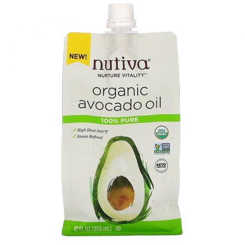 Nutiva, органическое масло авокадо, 100% чистый продукт, 355мл (12жидк.унций)