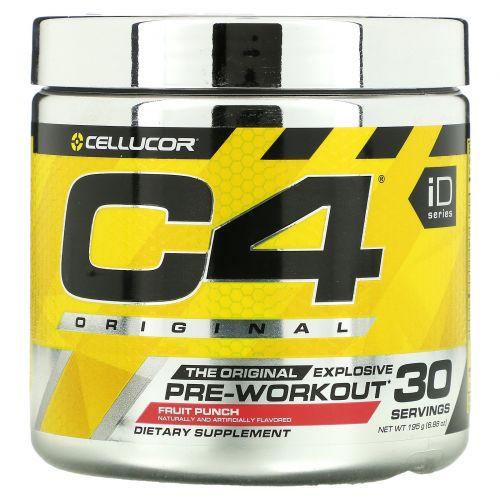 Cellucor, C4 Original для взрывной тренировки, перед тренировкой, фруктовый удар, 6,3 унций (180 г)