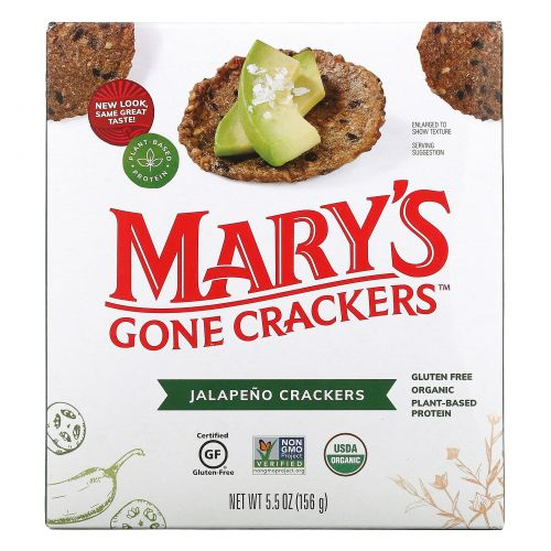 Mary's Gone Crackers, Органические, острые и жгучие крекеры с перчиком халапеньо, 5,5 унций (156 г)