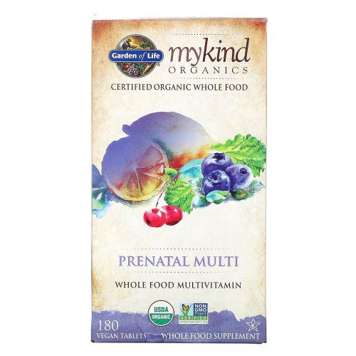 Garden of Life, MyKind Organics, пренатальный муьтивитамин, цельнопищевой мультивитамин, 180 веганских таблеток