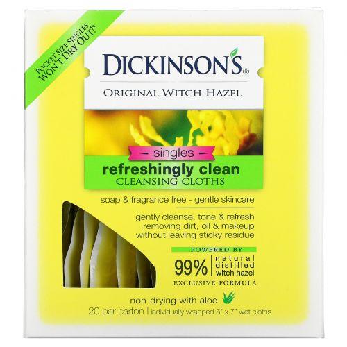"""Dickinson Brands, Освежающие влажные салфетки Original Witch Hazel On the Go, 20 шт в упаковке, 12,7 х 17,8 см (5"""" x 7"""")"""