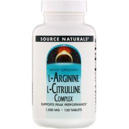 Source Naturals, Комплекс L-аргинина и L-цитруллина, 1000 мг, 120 таблеток