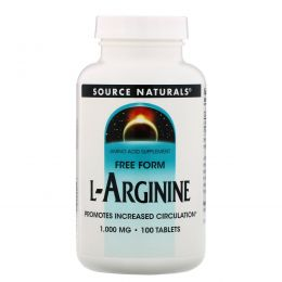 Source Naturals, L-аргинин, Свободная форма, 1000 мг, 100 таблеток