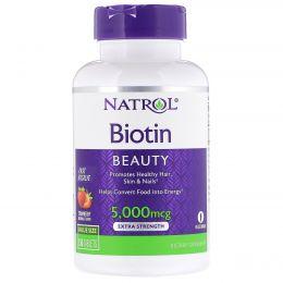 Natrol, Биотин, Экстра сила, Клубника, 5000 мкг, 150 таблеток