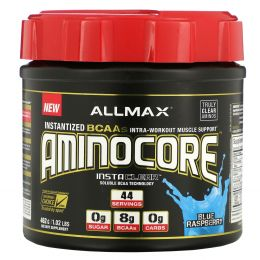 ALLMAX Nutrition, Aminocore, Max Strength BCAAs, 8G BCAAS, 0 Sugar, Gluten Free, Non-GMO, Blue Raspberry, 1 lbs. (462 g)