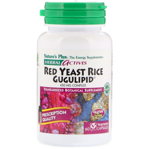 Nature's Plus, Herbal Actives, Гугулипид из красного дрожжевого риса, 60 растительных капсул