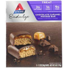 Atkins, Endulge, Шоколадные батончики с карамельным муссом, 5 батончиков, каждый по 1,2 унции (34 г)