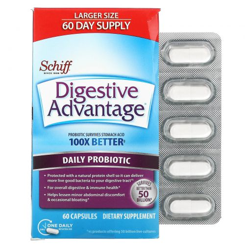 Schiff, Digestive Advantage, Daily Probiotic, 60 Capsules