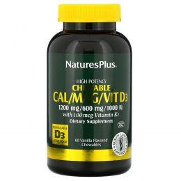 Nature's Plus, Кальций / Магний / Вит D3, со вкусом ванили, 60 жевательных таблеток