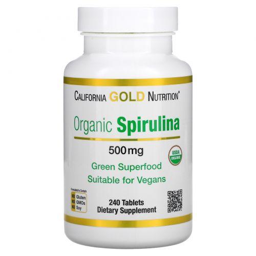 California Gold Nutrition, Органическая спирулина, 500мг, 240таблеток