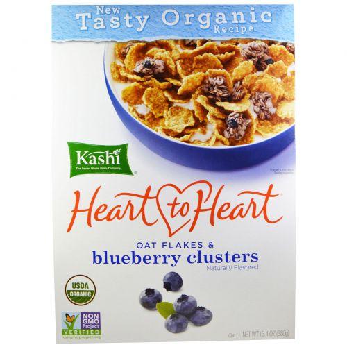 Kashi, Heart to Heart, овсяные хлопья и черничные шарики, 380 г