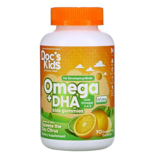 Doctor's Best, Omega + DHA Kids Gummies, Citrus , 90 Gelatin-Free Gummies
