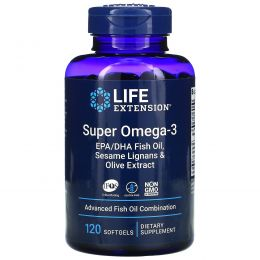 Life Extension, Omega Foundations, Супер Омега-3, 120 желатиновых капсул