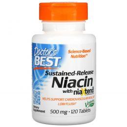 Doctor's Best, Ниацин, задержанное высвобождение с Niaxtend, 500 мг, 120 таблеток