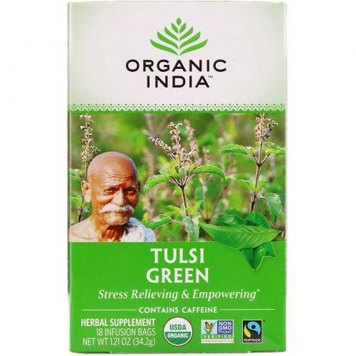 Organic India, Чай Tulsi Священный базалик, Зеленый чай, 18 пакетиков для настаивания, 1.21 унций (32.2 г)