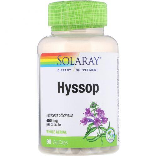 Solaray, Иссоп, цельный воздушный, 450 мг, 90 капсул