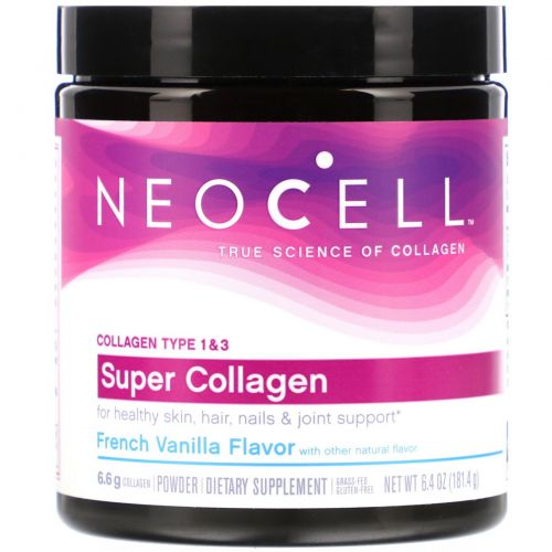 Neocell, Super Collagen, Type 1 & 3, French Vanilla, 6.4 oz (181.4 g)