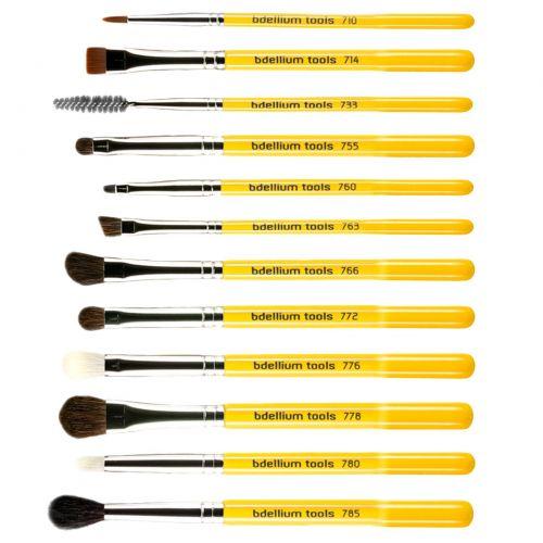 Bdellium Tools, Studio Line, набор кисточек для глаз и чехол, в комплект входит 12 предметов
