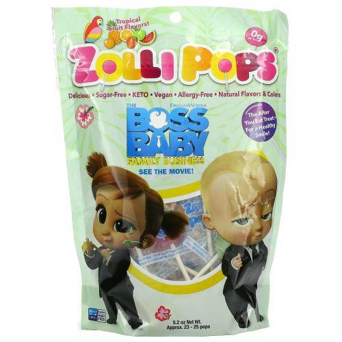 Zollipops, The Clean Teeth Pops,  Tropical Fruits, 23-25 Pops, 5.2 oz