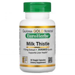 California Gold Nutrition, экстракт молочного чертополоха, EuroHerbs, European, без ГМО, клиническая сила, 60 вегетарианских капсул