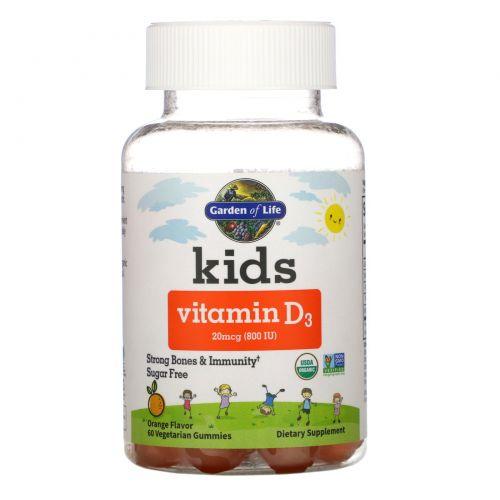 Garden of Life, Kids, Vitamin D3, Orange Flavor, 20 mcg (800 IU), 60 Vegetarian Gummies