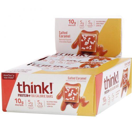 ThinkThin, Protein & Fiber Bars. Salted Caramel, 10 Bars, 1.41 oz (40 g) Each