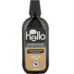 Hello, Активированный уголь, супер освежающий ополаскиватель для полости рта, натуральная свежая мята, 16 ж. унц. (473 мл)