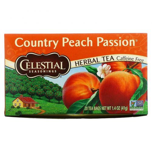 Celestial Seasonings, Травяной чай, персиковый, без кофеина 20 чайных пакетиков, 1.4 унции (41 г)