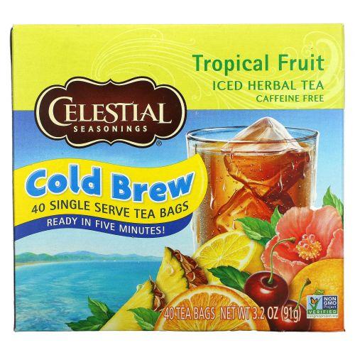 Celestial Seasonings, Холодный травяной чай Iced Herbal Tea, без кофеина, тропический фрукт, 40 пакетиков, 91 г