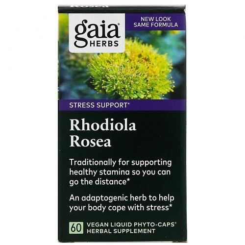 Gaia Herbs, Родиола розовая, 60 вегетарианских фитокапсул с жидким содержимым