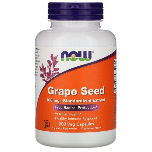 Now Foods, Виноградные косточки, 100 мг, 200 вегетарианских капсул