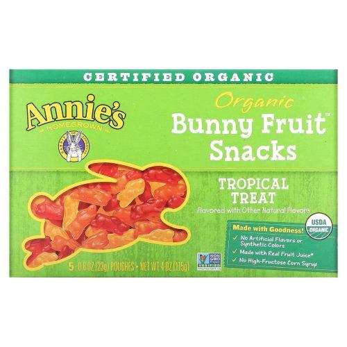 Annie's Homegrown, Органические фруктовые закуски в форме кроликов, вкус тропических фруктов, 5 упаковок, 0.8 унций (23 г) шт.