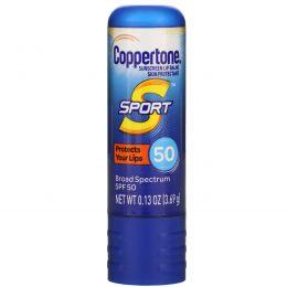 Coppertone, Sport, Sunscreen Lip Balm, SPF 50,  0.13 oz (3.69 g)