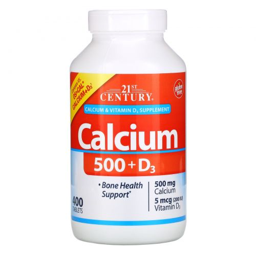 21st Century, Calcium 500 + D3, 400 Tablets