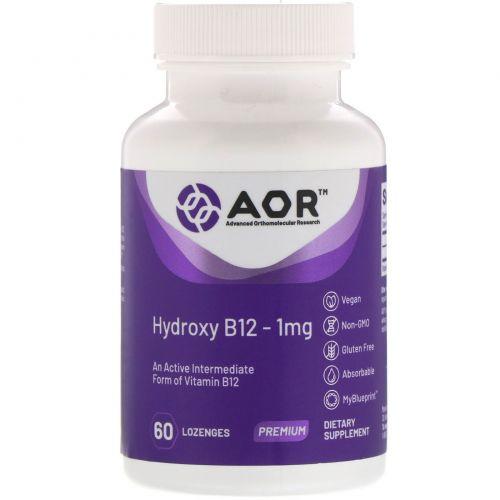 Advanced Orthomolecular Research AOR, Классическая серия, гидрокси-B12, 60 пастилок
