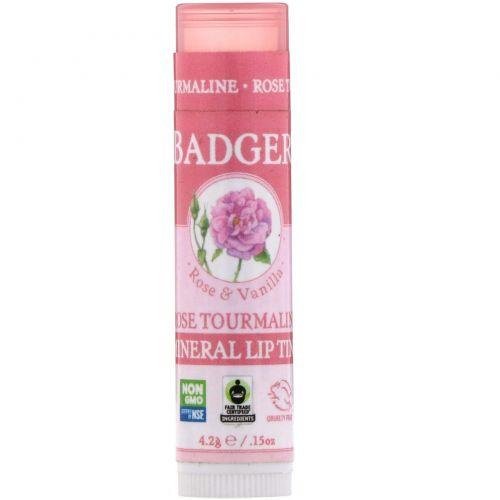 Badger Company, Минеральный блеск для губ, роза и турмалин, 4,2 г