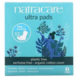 Natracare, Прокладки ультра, натуральное хлопковое покрытие, супер, 12 прокладок