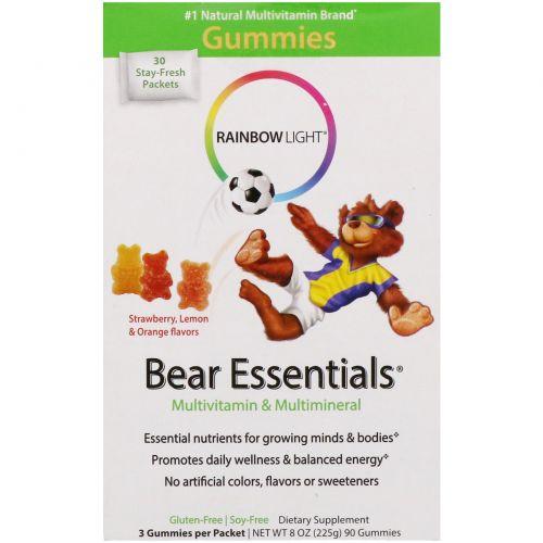 Rainbow Light, Жевательные мишки Essentials, мультивитамины и минералы, со вкусом клубники, апельсина и лимона, 30 пакетиков по 3 конфеты
