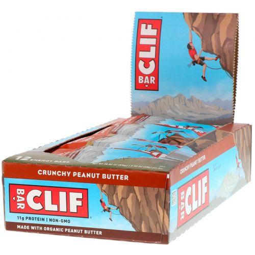 Clif Bar, Энергетический батончик, хрустящее арахисовое масло, 12 штук по 2,40 унции (68 г) каждая
