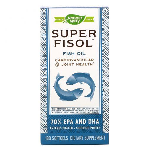 Nature's Way, Супер-Физол, Рыбий жир с энтеросолюбильным покрытием, 180 гелевых капсул