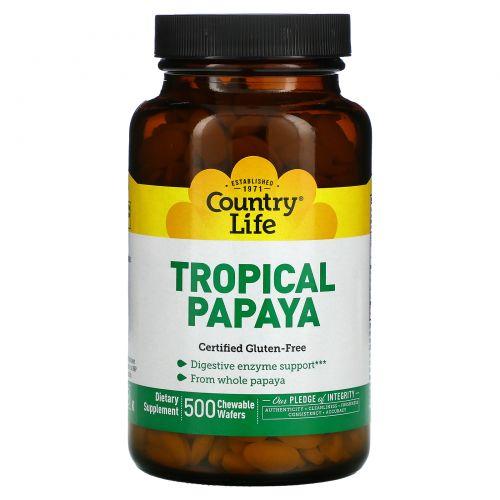 Country Life, Natural, тропическая папайя, 500 пастилок