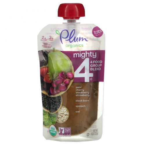 Plum Organics, Might 4, Tots, Nutritious Blend of 4 Food Groups, Cherry, Strawberry, Black Bean, Spinach, Oat, 4 oz (113 g)