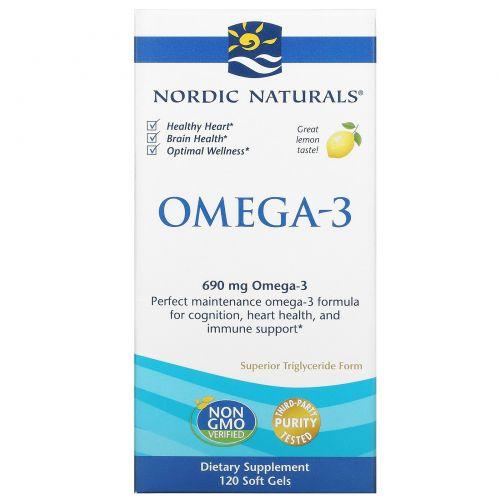 Nordic Naturals, Омега-3, лимон, 690 мг, 120 мягких желатиновых капсул