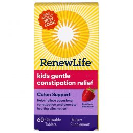 """Renew Life, """"Мягкое движение"""", детское питание для здоровья толстого кишечника, со вкусом клубничного взрыва, 60 жевательных таблеток"""