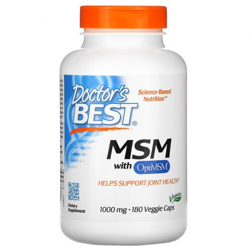 Doctor's Best, Best MSM, 1000 мг, 180 растительных капсул