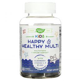Nature's Way, Kids, Happy&Healthy Multi, мультивитамины для детей от 2лет, малиновый вкус, 60жевательных мармеладок